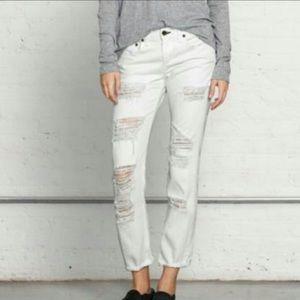 Rag-Bone White Distressed Boyfriend Jeans 27